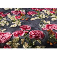 Best Colorful Embroidered Lace Fabrics , Multi Color Floral Blossom Lace Mesh Fabrics wholesale