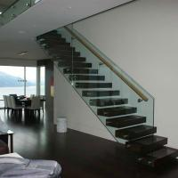 Cheap Straight Mild Steel Glass Modern Floating Staircase / Prefab Steel Glass Stair for sale