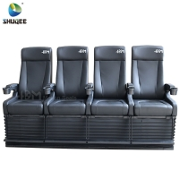 Best 4D Cinema System PU Leather Motion Seat Black Color With 40 Seats wholesale