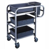 China Stainless Steel Hand Trolley 3-Layer Table Clearing Cart With Basins And Buckets on sale