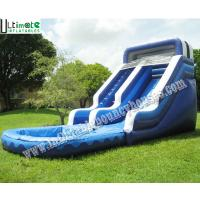 China Kids / Adults Commercial Grade Inflatable Water Slide With Pool 18 OZ PVC Tarpaulin on sale