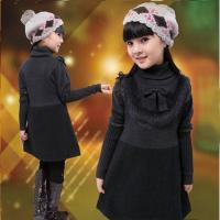 Best Uneven Grey Turtleneck Little Girls Winter Dresses With Bow 5 Year Old Girl Clothes wholesale