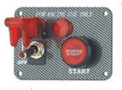 Best Carbon Fiber Racing Ignition Switch Panel , Red Illuminated Engine Start Button wholesale