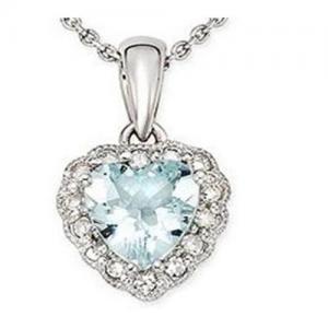 Best Aquamarine & Diamond Heart Pendant wholesale