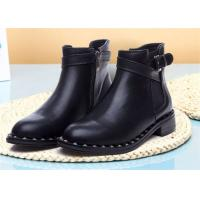 Best American Style Womens Genuine Leather Martin Boots With Metal Rivets And Side Zipper wholesale