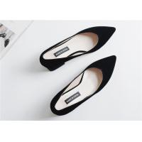 Cheap Beautiful Sheep Suede Comfortable Trendy Shoes V Shaped Closed Toe Thick Heels for sale