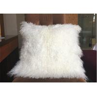 Best GENUINE MONGOLIAN SHEEPSKIN LONG CURLY LAMB WOOL FUR CUSHION COVER 40CM wholesale