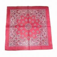 China Men's Bandana with Reactive Printed Pattern, Made of 100% Cotton on sale