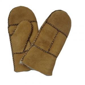 Best cheap patched sheepskin double face fur kids mitten wholesale