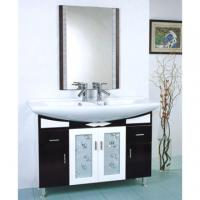 Best sanitary ware ceramic one piece white square single hole bathroom cabinet sink wholesale
