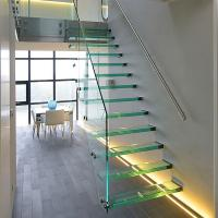 Cheap Straight Mild Steel Glass Modern Floating Staircase / Prefab Steel Glass Stair Indoor for sale