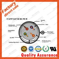 China 24 awg ftp utp cat5e cables 0.5 copper CCA Steel Messenger 4 Pairs twisted pvc jacket indoor Fluke blue color on sale