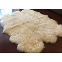 Cheap Ivory White Fur Living Room Rug 6 Pelt , 5.5 X 6 Ft Bedroom Sheepskin Rugs  for sale