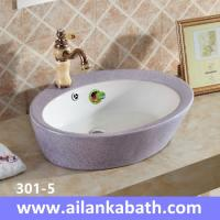 Best 2016 new model fashion sanitary ware colorful Double glazed art basin purple and white color wholesale