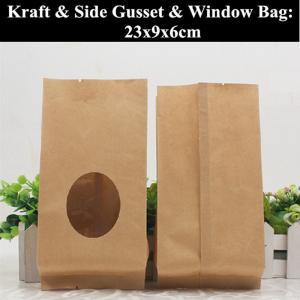 Best Flat Bottom Kraft Paper Coffee Pouch Heat Sealed Food Grade Packaging wholesale