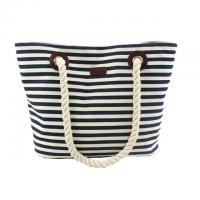 Best Custom Striped Ladies Canvas Tote Bags with Leather Handle / Canvas Weekend Travel Bag wholesale