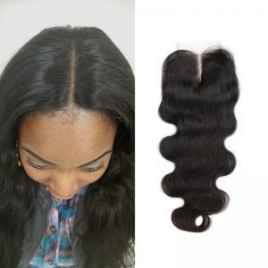 Best Free Middle 3 Part Lace Top Closure 120% Brazilian Virgin Hair Body Wave Closure wholesale