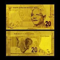 Best Business Gold Foil Banknote 24K Gold 999 Plated Present South African 20 Rand wholesale
