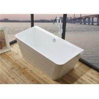 Best Glossy Solid Surface Acrylic Free Standing Bathtub Indoor Square Shaped wholesale