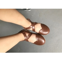 China Toddler Dress Shoes Real Leather Girls Dress Sandals Brown Girls Jelly Shoes on sale