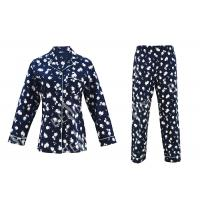 Best 100% Cotton Flannel Womens Button Up Pajama Sets With Piping And Long Pants wholesale