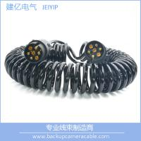 Best High Quality Black 7 Pin Spiral Cable Extension Trailer electric coil Cable wholesale