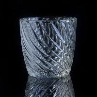 Best Hot Popular 8OZ Wax Twisted Lines glass cylinder candle holders For Decor wholesale