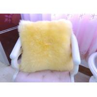 Best Yellow Sheepskin Floor Cushion With Zipper , Lambswool Seat Soft Fuzzy Pillows  wholesale