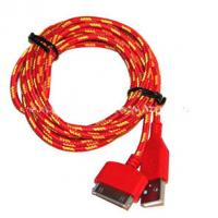 Best Red Color 30 Pin To USB Sync And Charge Cable Covered with Nylon , Two Sided wholesale