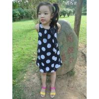 Best Sequences Little Girls Polka Dot Dress , Bow Shoulder Childrens Chiffon Dresses wholesale