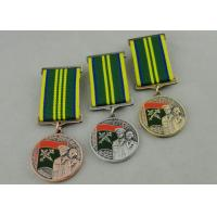 Zinc Alloy 3D Custom Medal Awards , Antique Gold Plating And Special Ribbon