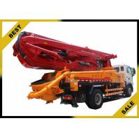 Best 550L Fuel Tank Cement Boom Truck , Remote Control Concrete Pump Car 24min Pump Frequency wholesale