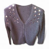 China Ladies' Short Cardigan, Made of Nylon, Angora and Wool, with Crystal Attached, Fashionable Look on sale