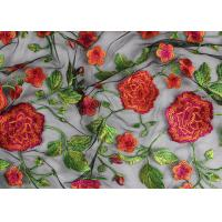 Best Bridal 3D Floral Embroidered Mesh Fabric , Red Flower Bridal Embroidered Net Fabric wholesale