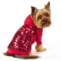Best Sequin Dog Pullover Sweatshirt Red / Custom Dog Hoodies apparel for small dogs wholesale