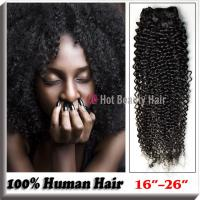 """Best Natural Black 100 Indian Remy Hair Extensions 14"""" - 28"""" , Kinky Curly Human Hair wholesale"""