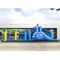 Best Giant Crazy Inflatable Obstacle Race Blue Color For Kids And Adults wholesale