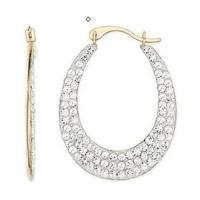 Best Gold & white crystals Reversible earring wholesale