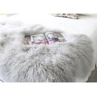 "Best Real Grey Curly Hairs Tibetan Lamb Fur Smooth Warm 48'' X 24""  For Home / Hotel wholesale"