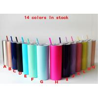 Best 20oz Kitchen Household Items Skinny Insulated Tumbler Cups With Colored Straw wholesale