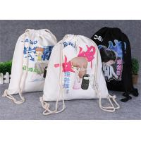 Best Promotional Travel Storage Custom Canvas Bags , Drawstring Backpack Bag wholesale
