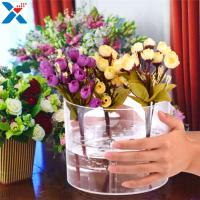 Best Waterproof Acrylic Flower Box Makeup Organizer Holder Round Shape ROHS Approval wholesale