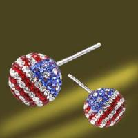 Best 925 Silver Crystal Ball Earring with Us Flag Shape (ESL3372) wholesale