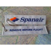 China Spanair Remove Before Flight Keyring Custom Embroidered Fabric Keychain With Logo on sale