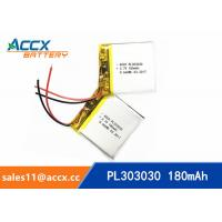 Best 303030pl 180mAh 3.7V li-ion polymer battery rechargeable cell with PCB protection wholesale