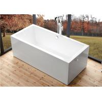 Best Deep Soaking Rectangle Acrylic Free Standing Bathtub With Overflow Space Saving wholesale