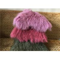 Best Mongolian fur Pillow Luxurious Purple Dyed Single Sided Fluffy Fur Bed throw wholesale