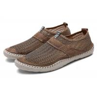 Best Breathable Loafer Slip On Shoes Mesh Upper Suede Leather Around Hand Sewing wholesale