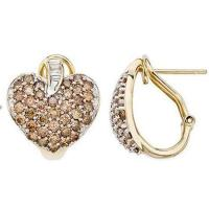 Best Smokey quartz & White DiamondYellow Gold Heart Earrings wholesale
