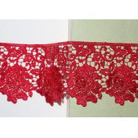Best Red Flower Embroidered Lace Trim By The Yard Environmental Protection wholesale